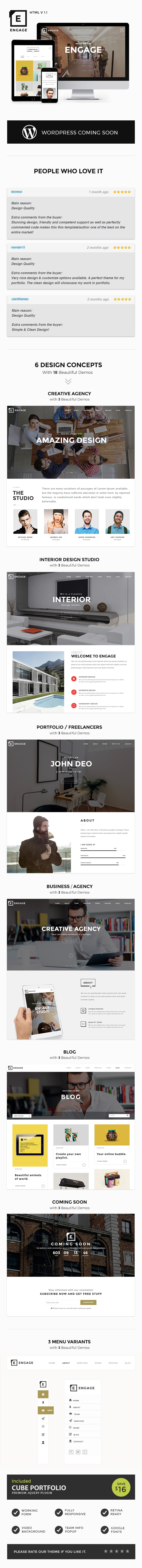 Engage - One Page for Agency, Interior & Portfolio